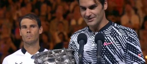 Roger Federer during a speech after winning the 2017 Australian Open/ Photo: screenshot via Australian Open TV channel on YouTube