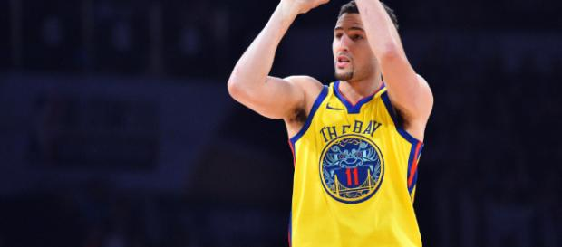 Golden State Warriors' Klay Thompson could receive lesser paycheck to stay in Bay Area. - [image credit: MLG Highlights / YouTube screencap]