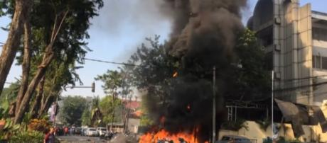 Six family members carry out deadly suicide bombings in Indonesia. [Image source: CBSNews/YouTube]
