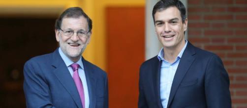Mariano Rajoy y Pedro Sánchez juntos por Cataluña, Public Domain.