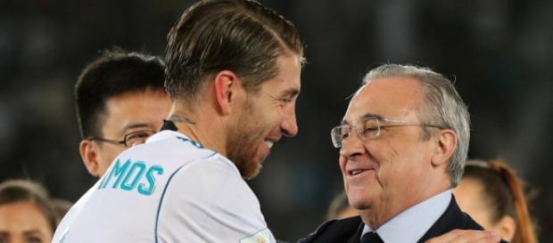 Sergio Ramos com o Florentino Pérez