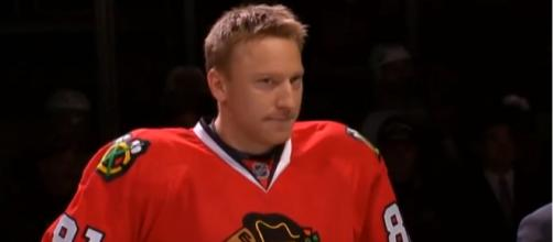 Hossa when he played in his 1000th NHL game - image - wenusz7 / Youtube