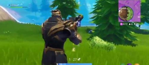 A screenshot of Thanos in 'Fortnite' - YouTube/Fine Nova