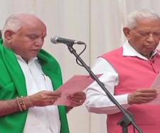Yeddyurappa took oath as Karnataka CM today (Image via NDTV Screencap)