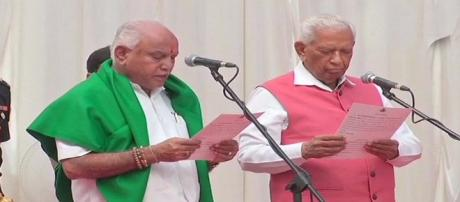 Yeddyurappa took oath as Karnataka CM today (Image via NDTV Screencap)