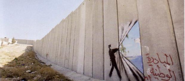 Rasgando el muro Banksy Palestina - Muro de la vergüenza | Banksy ... - pinterest.es