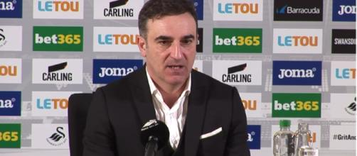 Carlos Carvalhal at a press conference. Photo courtesy: HaytersTV/YouTube screencap