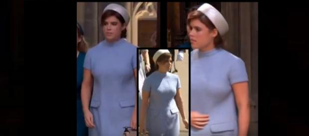 Princess Eugenie dons 60s style airline stewardess garb at royal wedding. Photo: Royal Family Channel/ Global News Youtube screenshots