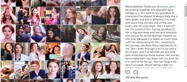 Emotiva despedida de la actriz Sarah Drew