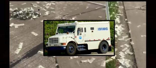 Armor truck spills cash along Indiana highway. Photo: NewZZCafe Youtube Screenshot