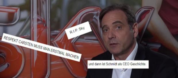 Sky Chef Carsten Schmidt ist wegen Sky Q in der Community unter Beschuss / Fotos: SkyService YouTube / Screenshots community.sky.de
