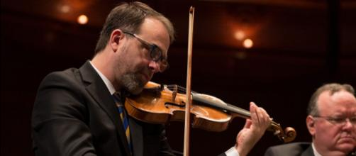 Concertmaster Eric Wyrick and Associate Concertmaster Brennan Sweet. [Photo: Tristan Cook, courtesy of NJSO - used with permission]
