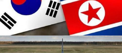 Le bandiere e un bombardiere B-52