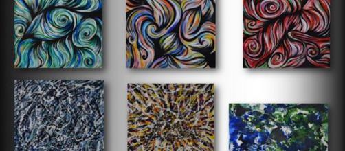 This image depicts abstract paintings created by artist Denise Valentino. / Image via Denise Valentino, used with permission.