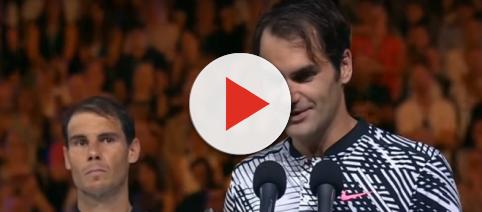 Roger Federer delivers a speech after winning the 2017 Australian Open. Photo: screenshot via Tennis TV channel on YouTube