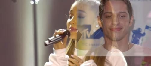 Is Ariana Grande DATING Saturday Night Live's Pete Davidson?- Image collage BBC & Vlevver News   YouTube