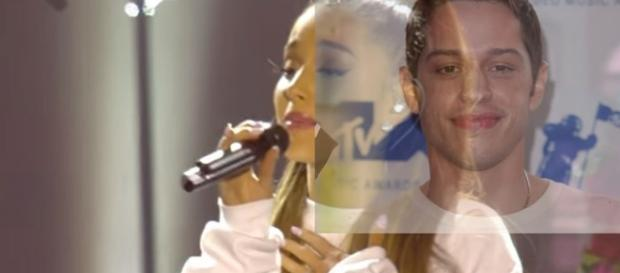 Is Ariana Grande DATING Saturday Night Live's Pete Davidson?- Image collage BBC & Vlevver News | YouTube