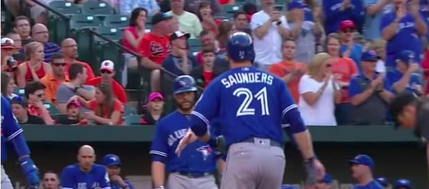 Michael Saunders hits three home runs in a game against the Baltimore Orioles in 2016. [image source: MLB/YouTube screenshot]
