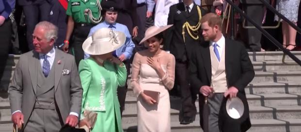 Meghan shares a joke with Camilla at Prince Charle's 70th birthday at Buckingham Palace | Youtube - The Royal Family Channel -