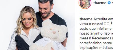 Thaeme, da dupla com Thiago, perde bebê e faz desabafo nas redes sociais. (foto reprodução).