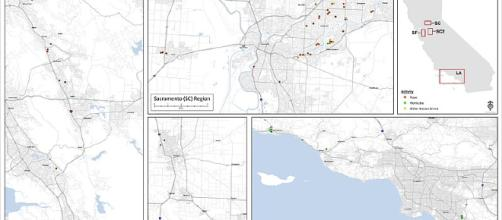 A map showing the attacks of the East Area Rapist (Image via FBI - WikiMedia Commons)
