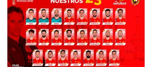 Lista selección española para el mundial de Rusia 2018 Foto: Twitter selección Española de Futbol
