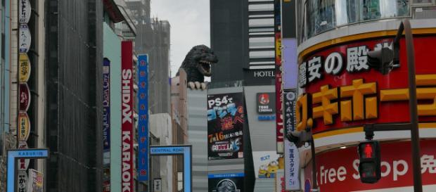 Godzilla peers over the streets of Shinjuku. - [Image via MassimoAbad / Pixabay]
