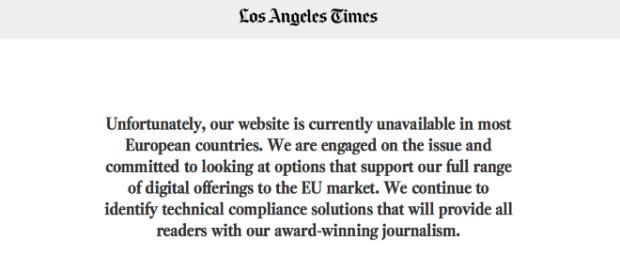 Il sito web del Los Angeles Times risulta inaccessibile agli utenti europei