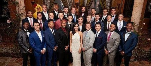 "Rebecca 'Becca' Kufrin and her 28 suitors on ""The Bachelorette"" [Image: Nikki Star TV/YouTube screenshot]"