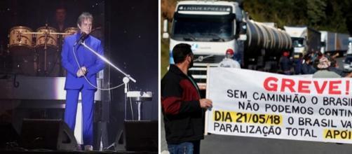 Roberto Carlos chamou os caminhoneiros de 'heróis' e ainda disse que a luta não é só deles, é de todos.