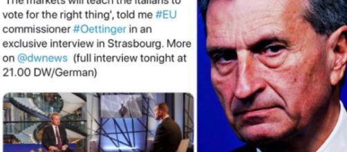 In alto, immagine del tweet contenente le dichiarazioni di Oettinger