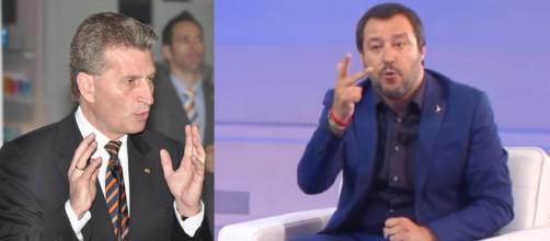 Inaudito attacco del commissario dell'UE, Oettinger: interviene Matteo Salvini