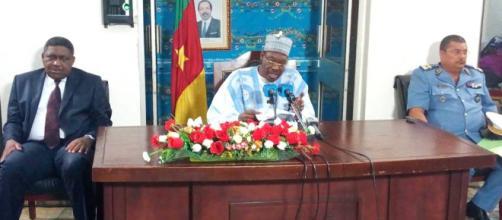 Le ministre de la communication Issa Tchiroma Bakary lors du point de presse du 28 Mai 2018 au Mincom (c) Élise Kenimbeni