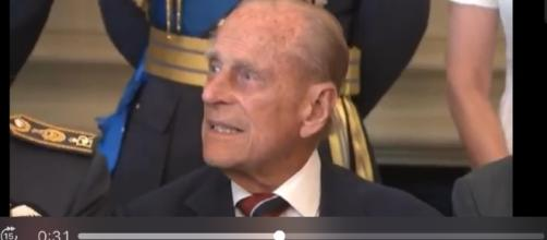 Prince Phillip attended the Royal wedding despite a cracked rib. (Image via The Royal Family Channel/YouTube screenshot).