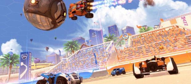 """La arena más nueva de """"Rocket League: Salty Shores""""."""
