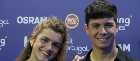 Amaia y Alfred en el press centre, foto de Javier Esquinas