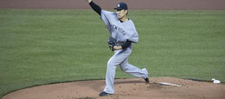 Masahiro Tanaka looked dominant on the mound against the Astros, throwing six innings with zero walks. [Image via Keith Allison/Flickr]