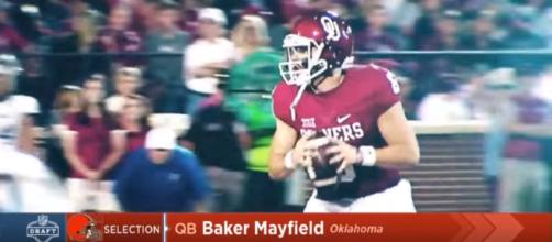 Browns select Baker Mayfield with #1 overall pick. [image source: Highlight Heaven - YouTube]