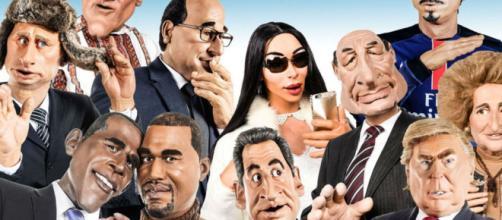 Algunos de los políticos y famosos parodiados en Les Guignols de l'Info, desde Putin y Trump a Chirac y Sarkozy.