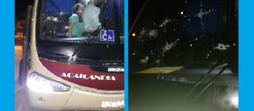 Para-brisa do ônibus da empresa Açailândia perfurado pelos tiros disparados de dentro do veículo. (Foto: PRF)