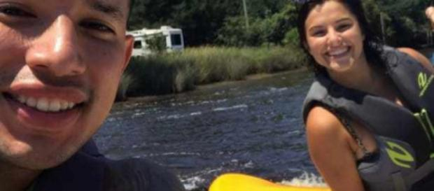 Javi Marroquin and Lauren Comeau go jet-skiing. [Photo via Twitter]
