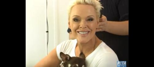 Actress, reality star, model and mom-to-be, Brigitte Nielsen. [Image from PETA Deutschland e.V. / YouTube.]