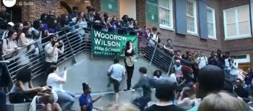 Jack White calls students to join him at Woodrow Wilson High School pop-up show. - [Consequence of Sound / YouTube screencap]
