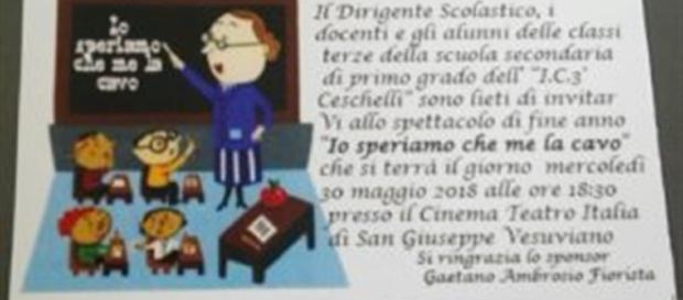 """""""Io speriamo che me la cavo"""", lo spettacolo proposto dagli alunni delle classi 3° della scuola media Don Gino Ceschelli (foto:web)"""