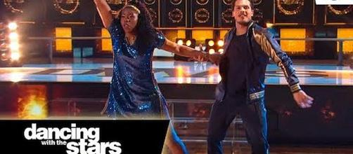 "Arike Ogunbowale with partner Gleb Savchenko on ""Dancing with the Stars"" [Image: Dancing with the Stars/YouTube screenshot]"