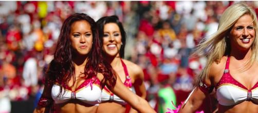 "Redskins cheerleaders say the team was ""pimping us out"" in reference to their allegations in 2013 [image source: USA Today/YouTube screenshot]"