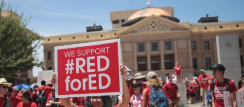 Teachers protesting at the capitol in Phoenix. [image source: Gage Skidmore - Flickr]