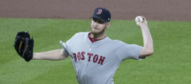 Chris Sale seems to be slowing and even struggling. [Image source: Wikimedia Commons]