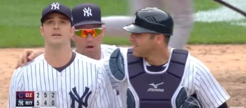 The Yankees celebrate a win against the Indians. [image source: YESNetwork - YouTube]