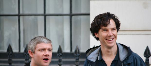 Freeman + Cumberbatch in Sherlock; (Image via Benedict_Cumberbatch/Wikimedia)